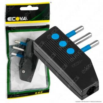 Ecova Spina Singola 10A Salvaspazio Reversibile con Uscita Cavo a 90° Colore Nero - Mod. 30028