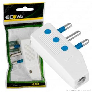 Ecova Spina Singola 16A Salvaspazio Reversibile con Uscita Cavo a 90° Colore Bianco - Mod. 33029