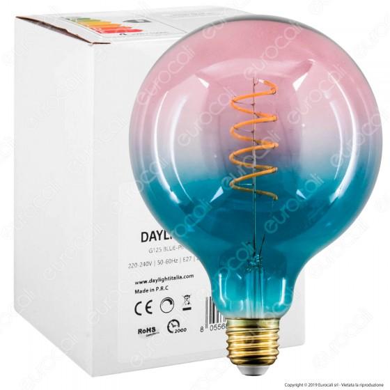 Daylight Lampadina E27 Filamento LED a Spirale 5W Globo G200 con Vetro Blu e Rosa Dimmerabile - mod. 700266.00A