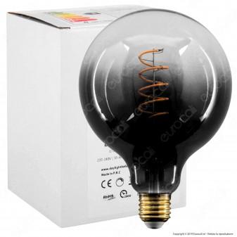 Daylight Lampadina E27 Filamento LED a Spirale 4W Globo G125 con Vetro Nero Sfumato Dimmerabile - mod. 700267.00A