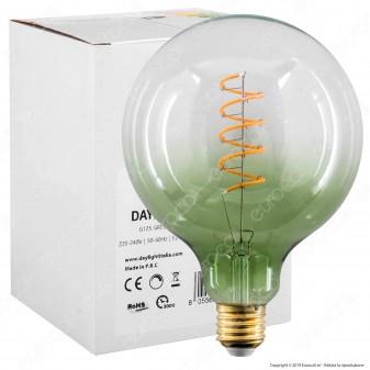 Daylight Lampadina E27 Filamento LED a Spirale 4W Globo G125 con Vetro Verde Sfumato Dimmerabile - mod. 700270.00A