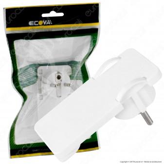 Ecova Spina Singola Schuko Piatta con Uscita Cavo a 90° di Colore Bianco - mod. 30183