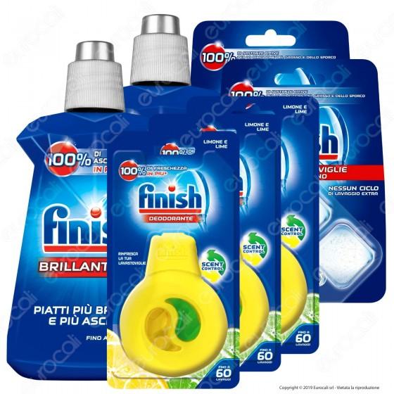 Kit Additivi Finish: Brillantante 2x250ml + Curalavastoviglie Ciclo Pieno 2x3 Capsule + Deodorante 3x4ml