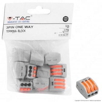 V-Tac Confezione con 10 Connettori Universali 3 Poli a 1 Via - SKU 11130