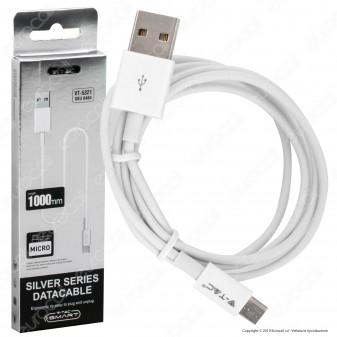 V-Tac VT-5321 Silver Series USB Data Cable Micro USB Cavo Colore Bianco 1m - SKU 8484