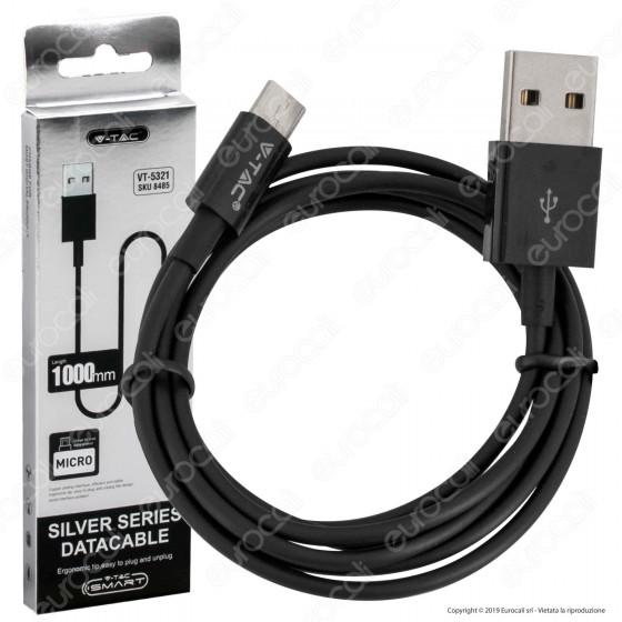 V-Tac VT-5321 Silver Series USB Data Cable Micro USB Cavo Colore Nero 1m - SKU 8485