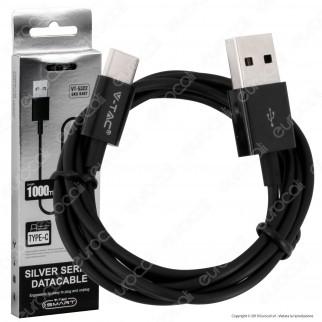 V-Tac VT-5322 Silver Series USB Data Cable Type-C Cavo Colore Nero 1m - SKU 8487