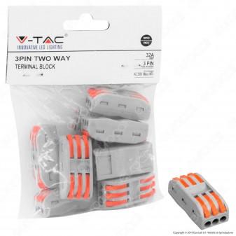 V-Tac Confezione con 10 Connettori Universali 3 Poli a 2 Vie - SKU 11133