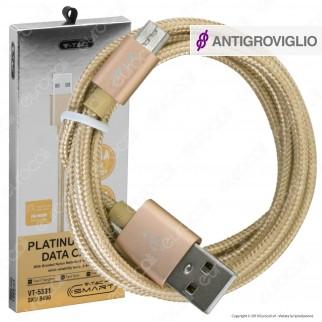 V-Tac VT-5331 Platinum Series USB Data Cable Micro USB Cavo in Corda Colore Oro 1m - SKU 8490