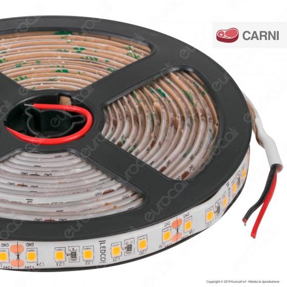 LEDCO Striscia LED 2835 Monocolore 240 LED/metro 24V IP65 per Macellerie - Bobina da 5 metri