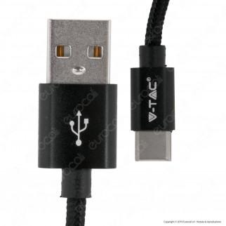 V-Tac VT-5334 Platinum Series USB Data Cable Type-C Cavo in Corda Colore Nero 1m - SKU 8491