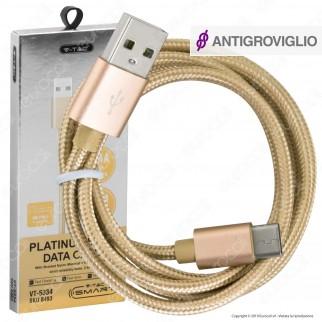 V-Tac VT-5334 Platinum Series USB Data Cable Type-C Cavo in Corda Colore Oro 1m - SKU 8493