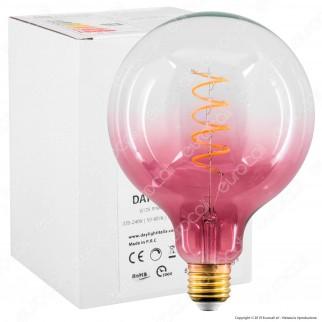 Daylight Lampadina E27 Filamento LED a Spirale 4W Globo G125 con Vetro Rosa Sfumato Dimmerabile - mod. 700268.00A