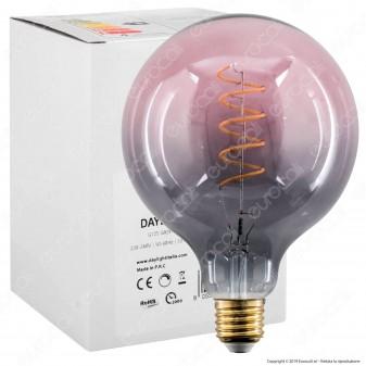 Daylight Lampadina E27 Filamento LED a Spirale 4W Globo G125 con Vetro Grigio e Rosa Dimmerabile - mod. 700269.00A