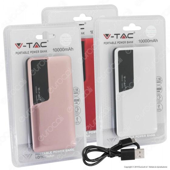 V-Tac VT-3511 Power Bank Portatile 10000 mAh 1 Uscita USB 2,1A - SKU 8869 / 8870 / 8871 / 8872 / 8873