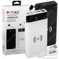 V-Tac VT-3508 Power Bank con Ricarica Wireless 20000 mAh 2 Uscite USB 2,1A - SKU 8859 / 8860