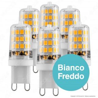 V-Tac VT-2243 Super Saver Pack Confezione 6 Lampadine LED G9 3W - SKU 2745 / 2746 / 2747