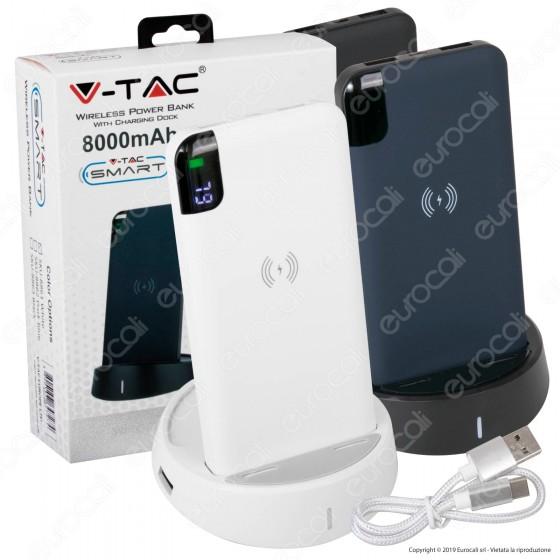 V-Tac VT-3509 Power Bank con Ricarica Wireless 80000 mAh e Base di Ricarica - SKU 8861 / 8862 / 8863