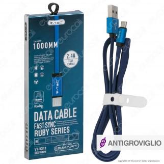 V-Tac VT-5341 Ruby Series USB Data Cable Micro USB Cavo in Corda Colore Nero 1m - SKU 8494