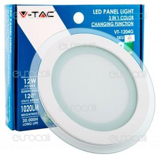 V-Tac VT-1204G-RD Pannello LED Rotondo 12W SMD2835 da Incasso Change Color - SKU 4836