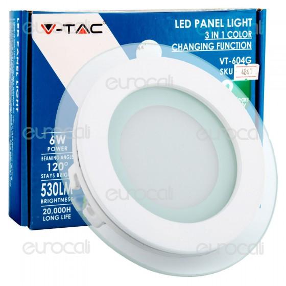 V-Tac VT-604G-RD Pannello LED Rotondo 6W SMD2835 da Incasso Change Color