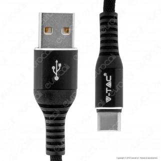 V-Tac VT-5352 Gold Series USB Data Cable Type-C Cavo in Corda Colore Nero 1m - SKU 8632