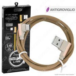V-Tac VT-5362 Diamond Series USB Data Cable Type-C Cavo in Corda Colore Oro con Connettori a L 1m - SKU 8640