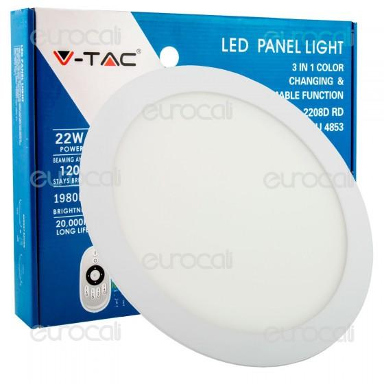 V-Tac VT-2208D Pannello LED Rotondo 22W SMD5630 da Incasso Change Color Dimmerabile