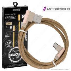 V-Tac VT-5361 Diamond Series USB Data Cable Micro USB Cavo in Corda Colore Oro con Connettori a L 1m - SKU 8637