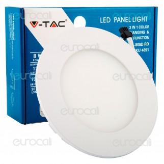 V-Tac VT-808D Pannello LED Rotondo 8W SMD5630 da Incasso Change Color Dimmerabile