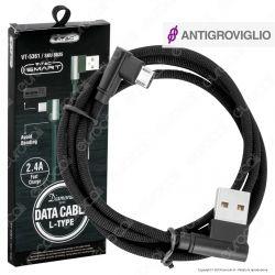 V-Tac VT-5361 Diamond Series USB Data Cable Micro USB Cavo in Corda Colore Nero con Connettori a L 1m - SKU 8635