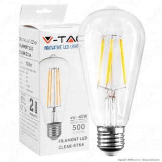 V-Tac VT-2105D Lampadina LED E27 4W Bulb ST64 Filamento - SKU 7414