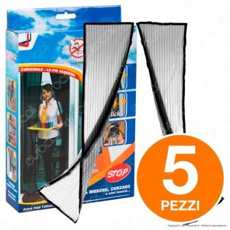 Kit 5 Buzz Away Intergross Zanzariera Magnetica con Chiusura Automatica Colore Nero