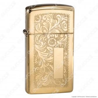 Accendino Zippo Mod. 1652B Venetian Brass Slim - Ricaricabile Antivento