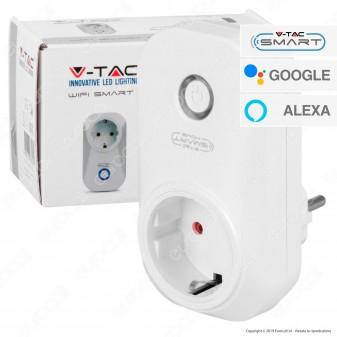 V-Tac Smart VT-5001 Presa 10A Schuko Wi-Fi con Spina Schuko - SKU 8415