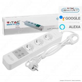 V-Tac Smart VT-5006 Multipresa 3 Posti Wi-Fi Colore Bianco con Interruttore - SKU 8420