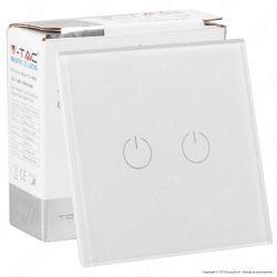 V-Tac VT-5112 Interruttore Touch Colore Bianco con 2 Tasti - SKU 8357