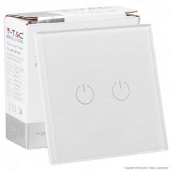 V-Tac VT-5112 Interruttore Touch Colore Biancoo con 2 Tasti - SKU 8357