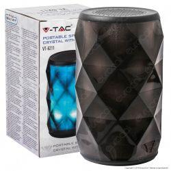 V-Tac VT-6211 Speaker Bluetooth Portatile 3W con LED RGB e Microfono Ingresso MicroSD AUX - SKU 7723