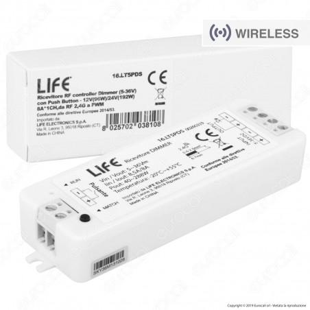 Life Controller Dimmer a Zone Strisce LED Associabile a Telecomando e Connessione Pulsante Cablato - mod. 16.LT5PDS