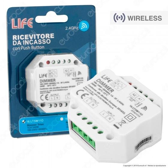 Life Controller Dimmer da Incasso a Zone per Lampade Dimmerabili Associabile a Telecomando e Pulsanti Cablati - mod. 16.LT5W11D