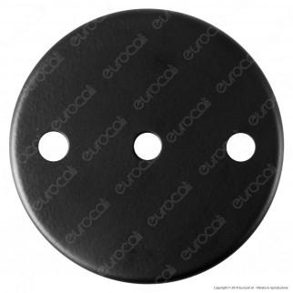 FAI Rosone Cilindrico in Metallo 3 Fori Colore Nero Opaco - mod. 1159/NE/OP/3