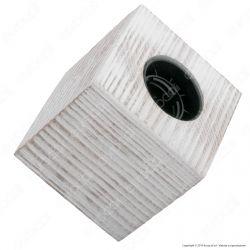 FAI Bicchiere Portalampada Cubico in Legno per Lampadine E27 Colore Bianco