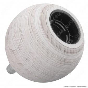 FAI Bicchiere Portalampada Sferico in Legno per Lampadine E27 Colore Bianco