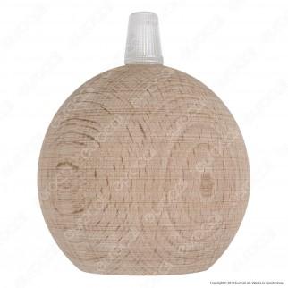 FAI Bicchiere Portalampada Sferico in Legno per Lampadine E27 Colore Legno Naturale