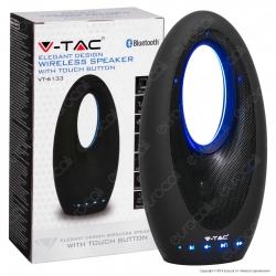 V-Tac VT-6133 Speaker Bluetooth Portatile 5W con LED Blu e Microfono Ingresso MicroSD AUX - SKU 7725