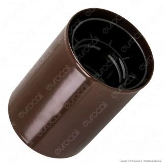 FAI Bicchiere Portalampada Cilindrico in Metallo per Lampadine E27 Colore Marrone - mod. 0146/MA
