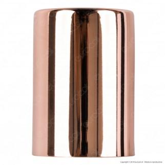 FAI Bicchiere Portalampada Cilindrico in Metallo per Lampadine E27 Colore Rame - mod. 0146/RA