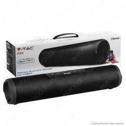 V-Tac VT-6133 Speaker Bluetooth Portatile 2x3W con Rivestimento in Stoffa e Microfono Ingresso MicroSD AUX - SKU 7726
