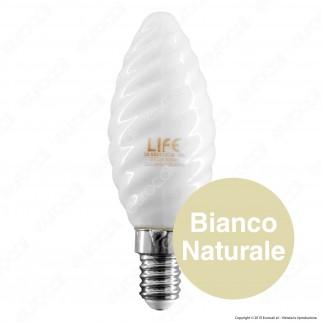 Life Lampadina LED E14 6W Candela Twist Milky Filamento - mod. 39.920113CM / 39.920113NM